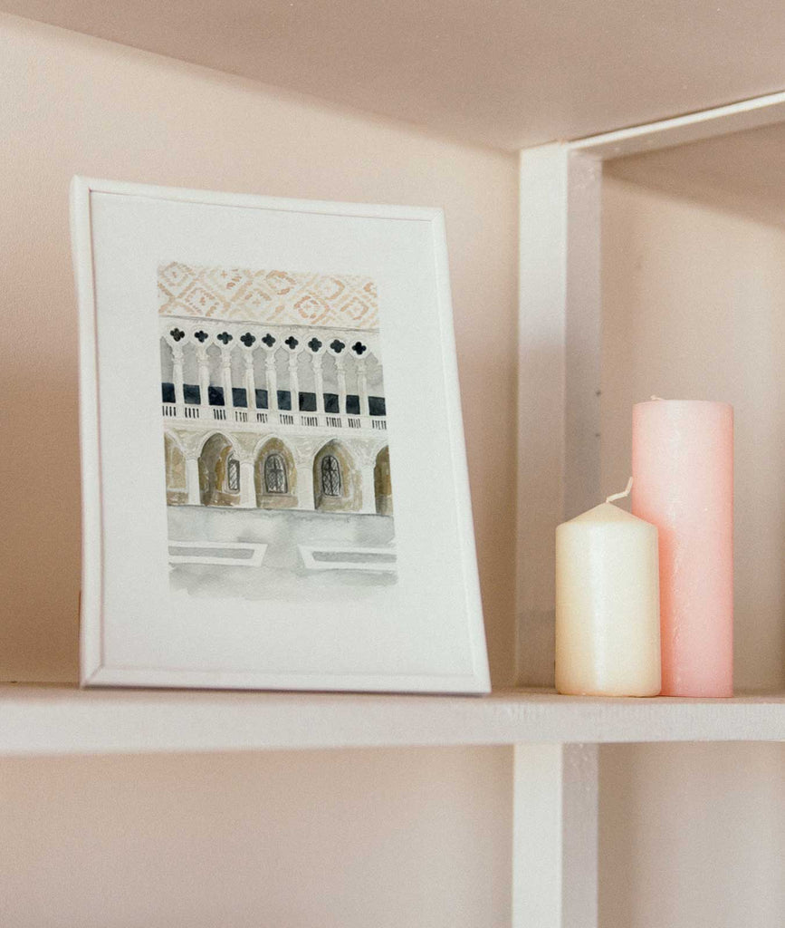 watercolor illustration of doge's palace art print on bookshelf