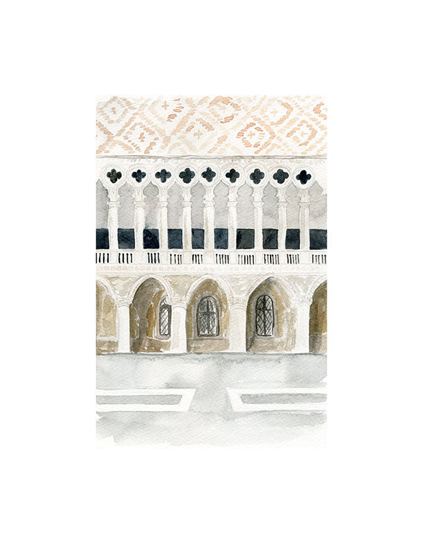 watercolor illustration of doge's palace art print