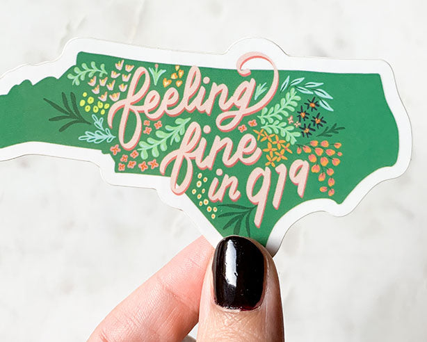 feeling fine in 919 floral north carolina state shape sticker