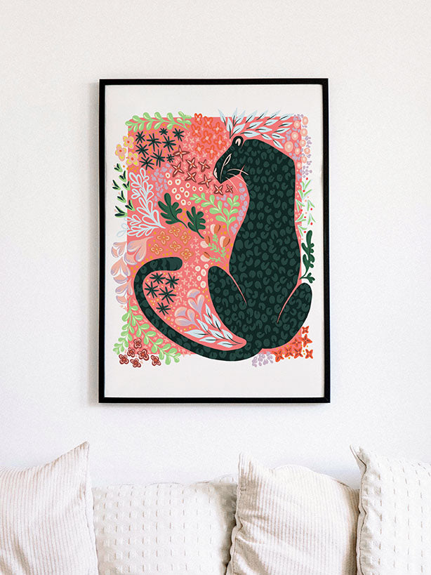Floral Black Jaguar Whimsical Illustration Art Print