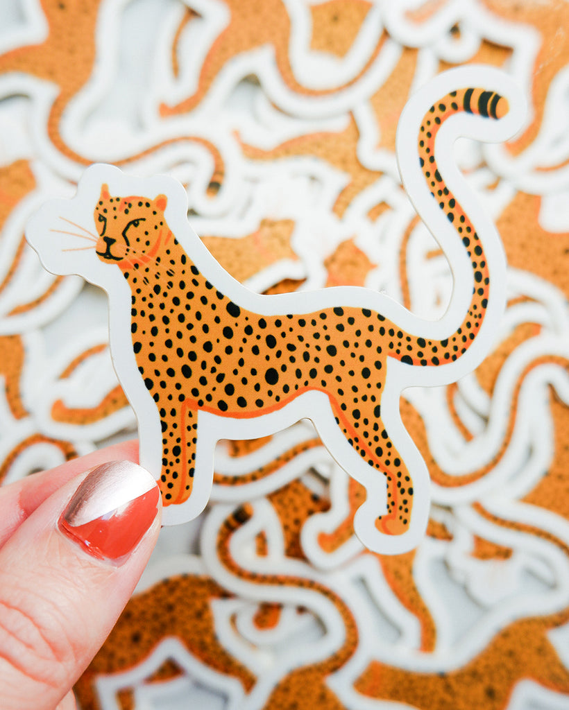 illustrated cheetah die cut sticker