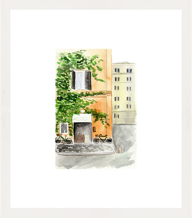 sweetness and co street watercolor illustration art print in white frame