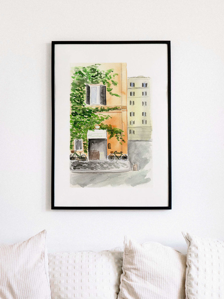 sweetness and co street watercolor illustration art print over couch