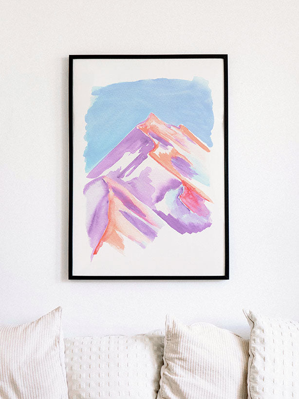 Pastel Peak Gouache Illustration Art Print