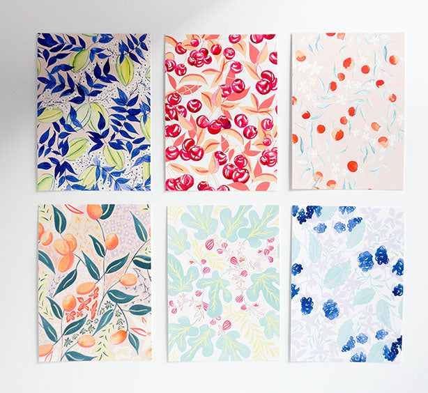 Floral Patterns Assorted Postcards Set of 12