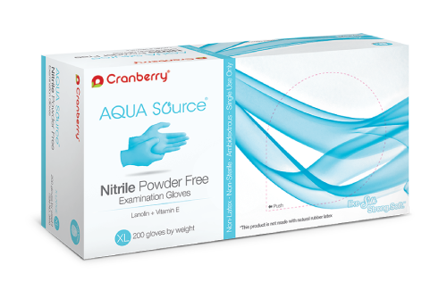 Cranberry Aqua Source Nitrile Powder Free Examination Gloves