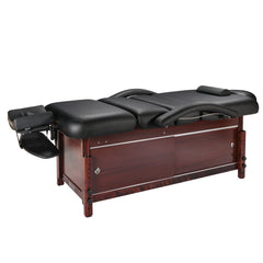 "Master Massage Cabrillo 30"" Black w/ Walnut Legs Stationary Massage Table 10125"