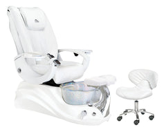 Whale Spa Crane w/ Optional Discharge Pump Pedicure Spa Chair - White Edition