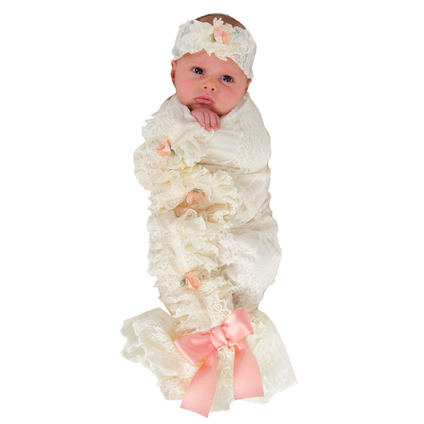 Babyjoe Cozy Cocoon Satin Bud Lace Swaddle