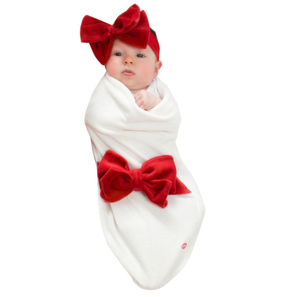 Babyjoe Cozy Cocoon Red Velour Bow
