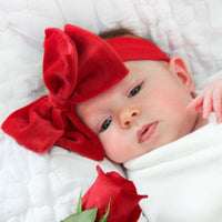 Babyjoe Cozy Cocoon Red Velour Bow 5