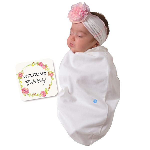 Chiffon Rose White Baby Swaddle