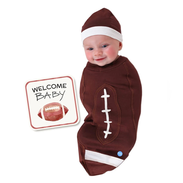 Football Brown Baby Swaddle
