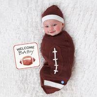 Football Brown Baby Swaddle 2