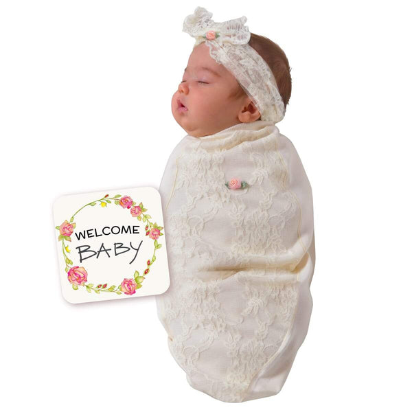 Lace Blossoms Off White Baby Swaddle