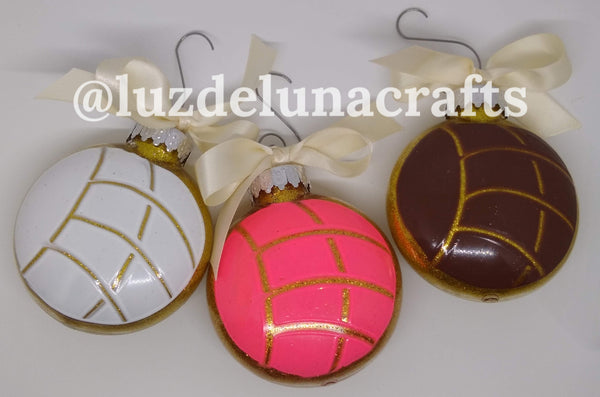 Pan Dulce Concha Ornaments set of 3! (pink, white, chocolate)