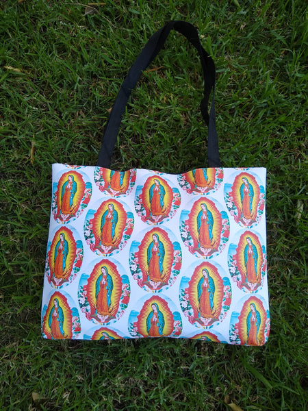 Extra large Virgen de Guadalupe tote bag with zipper