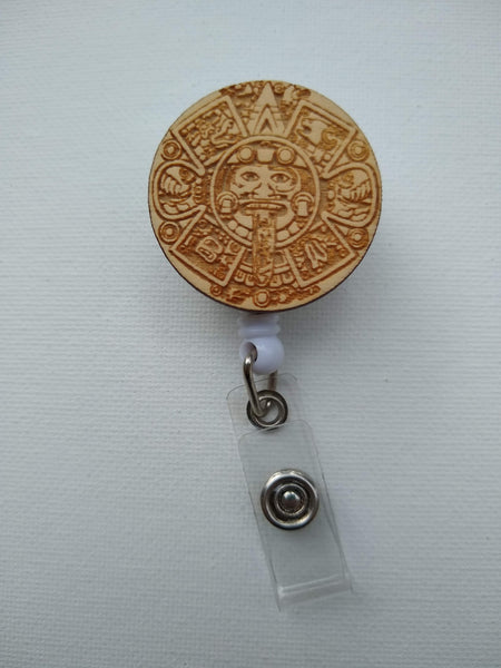 Aztec Calendar ID Clip Badge Reel-Retractable
