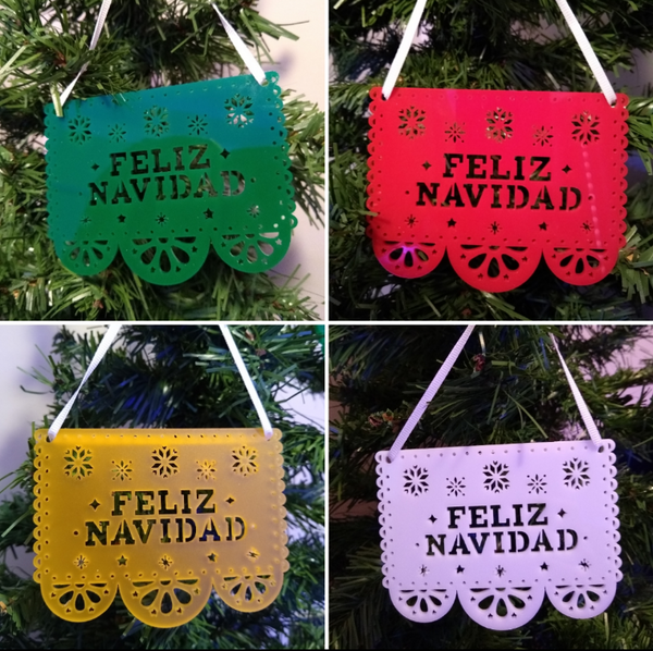 Papel Picado Ornaments (set of 4) Green, White, Red, and Yellow