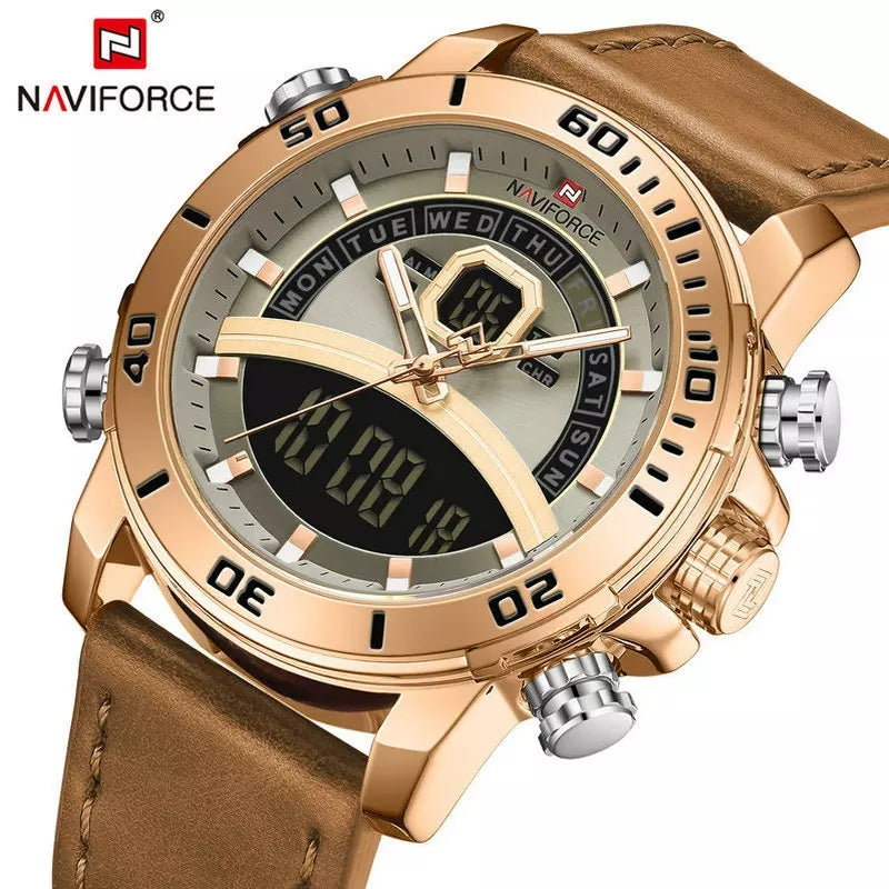 Naviforce 9181 Maverick Men Leather Watch - Brown