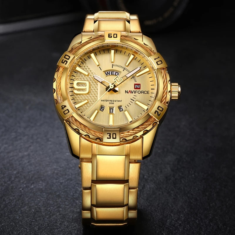 Naviforce 9117s Fozi Steel Watch - Gold