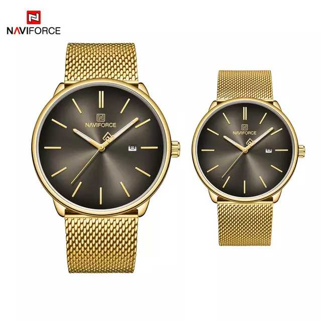 Naviforce 3012 Polo Couple Watch - Gold