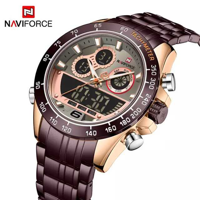 Naviforce 9188 Belzman Dual Display Watch - Brown