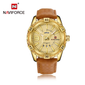 Naviforce 9117 Fozi Men Leather Watch - Gold