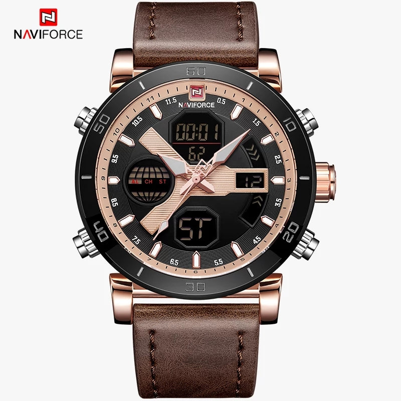 Naviforce 9132 Ecstasy Men Watch - Coffee Brown