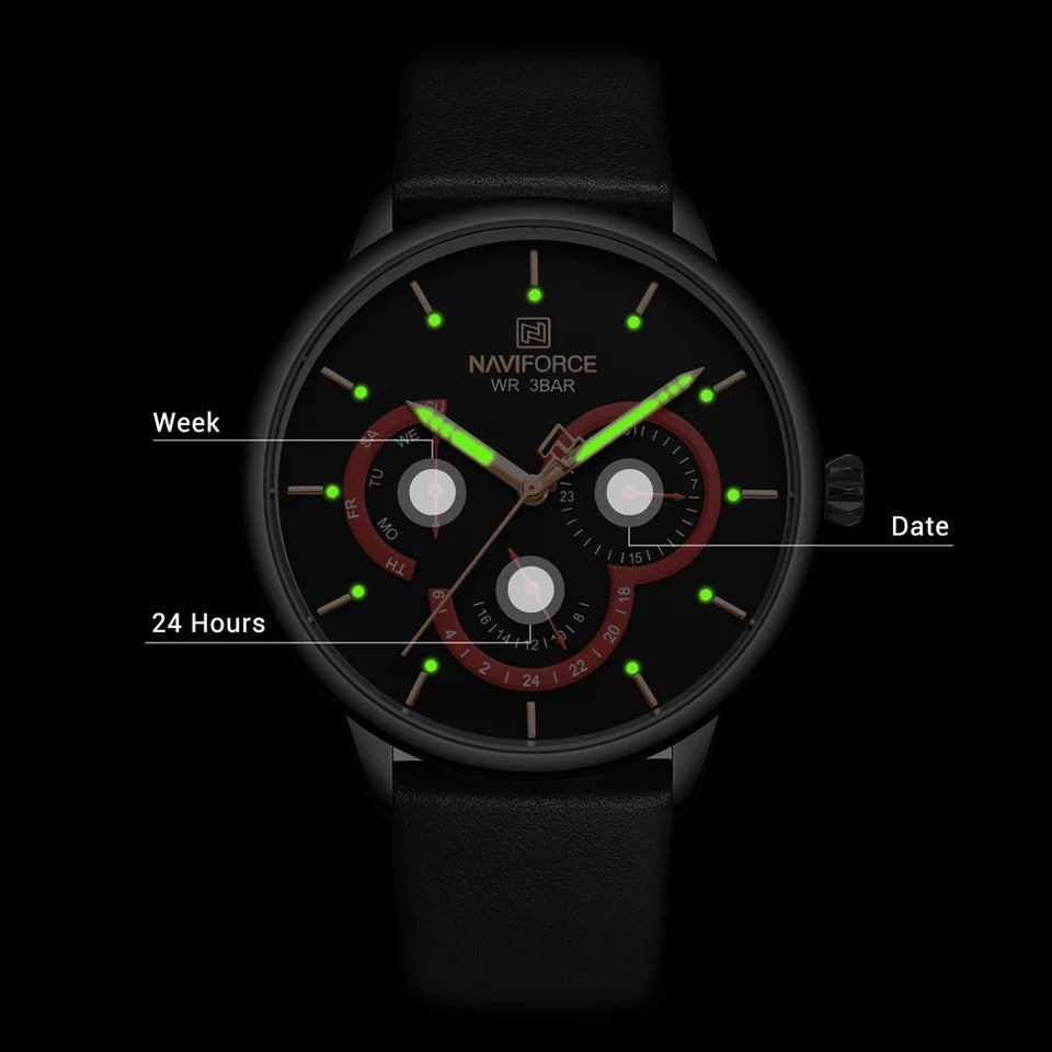Naviforce 3011 Rotary Men Leather Watch - Black