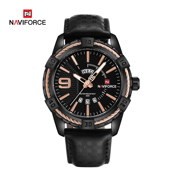 Naviforce 9117L Fozi Leather Watch - Black