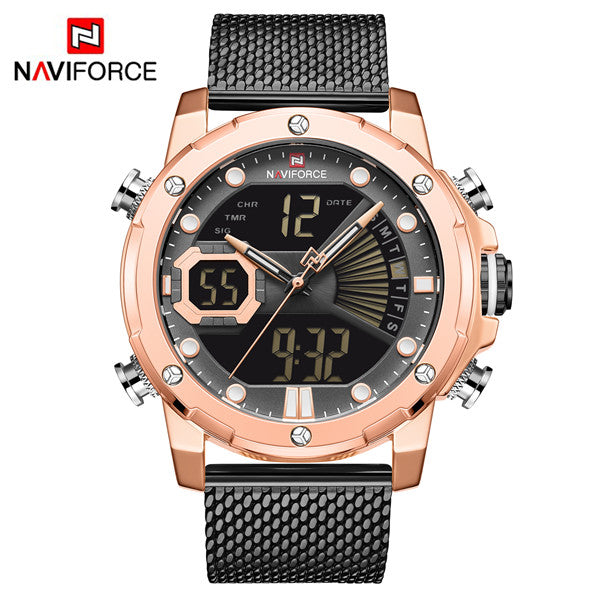 Naviforce 9172 Reisha Men Steel Watch - Black