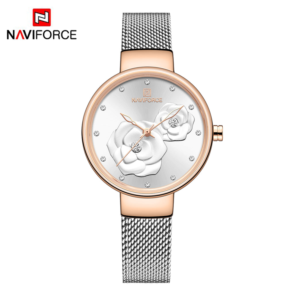 Naviforce 5013 Venice Floral Women Watch - Silver