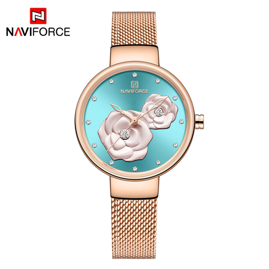 Naviforce 5013 Venice Floral Women Watch - Gold