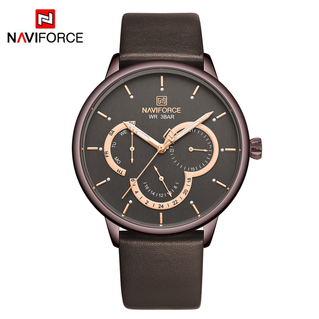 Naviforce 3011 Rotary Men Leather Watch - Brown