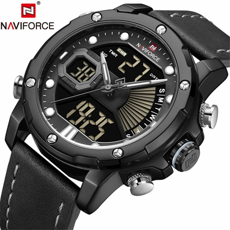 Naviforce 9172 Reisha Men Leather Watch - Black
