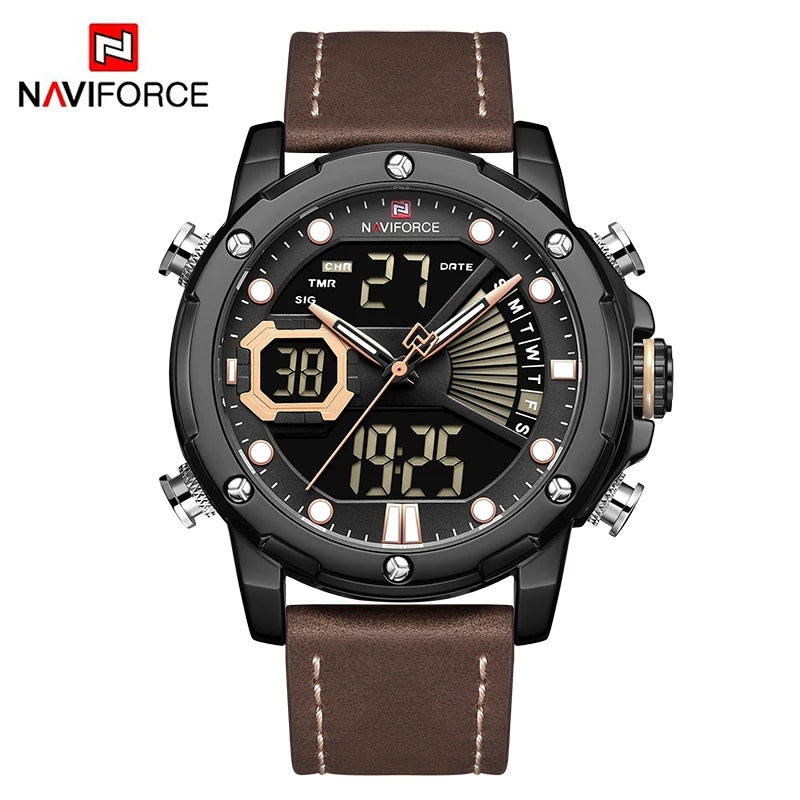 Naviforce 9172 Reisha Men Leather Watch - Dark Brown