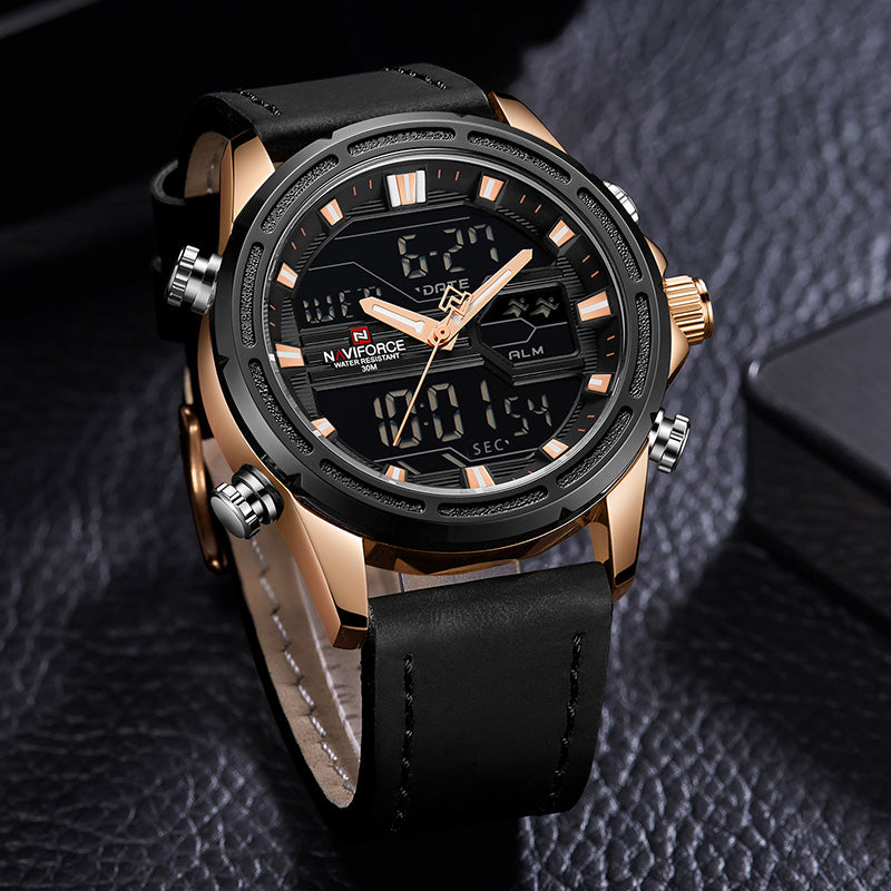 Naviforce 9138 Relogio Leather Watch