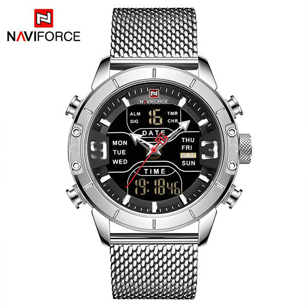 Naviforce 9153 Cyborg Men Watch - Silver