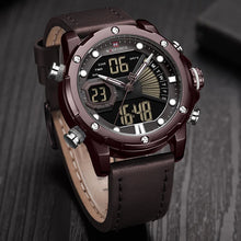 Naviforce 9172 Reisha Men Leather Watch - Coffee Brown