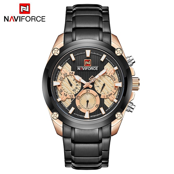 Naviforce 9113 Maestro Chronograph Watch - Black