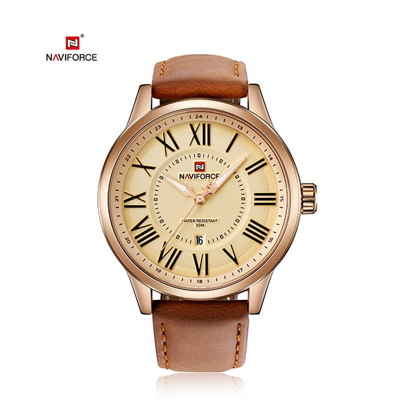 Naviforce 9126 Twist Leather Watch - Brown