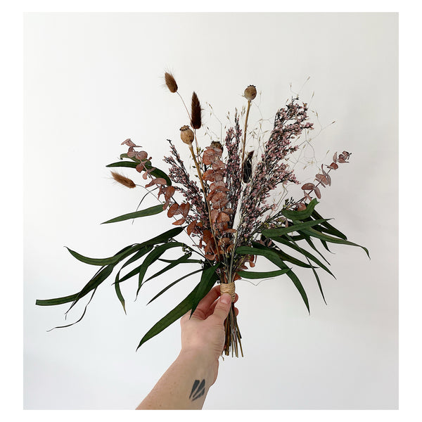Small Eucalyptus and Heather Forever Bouquet