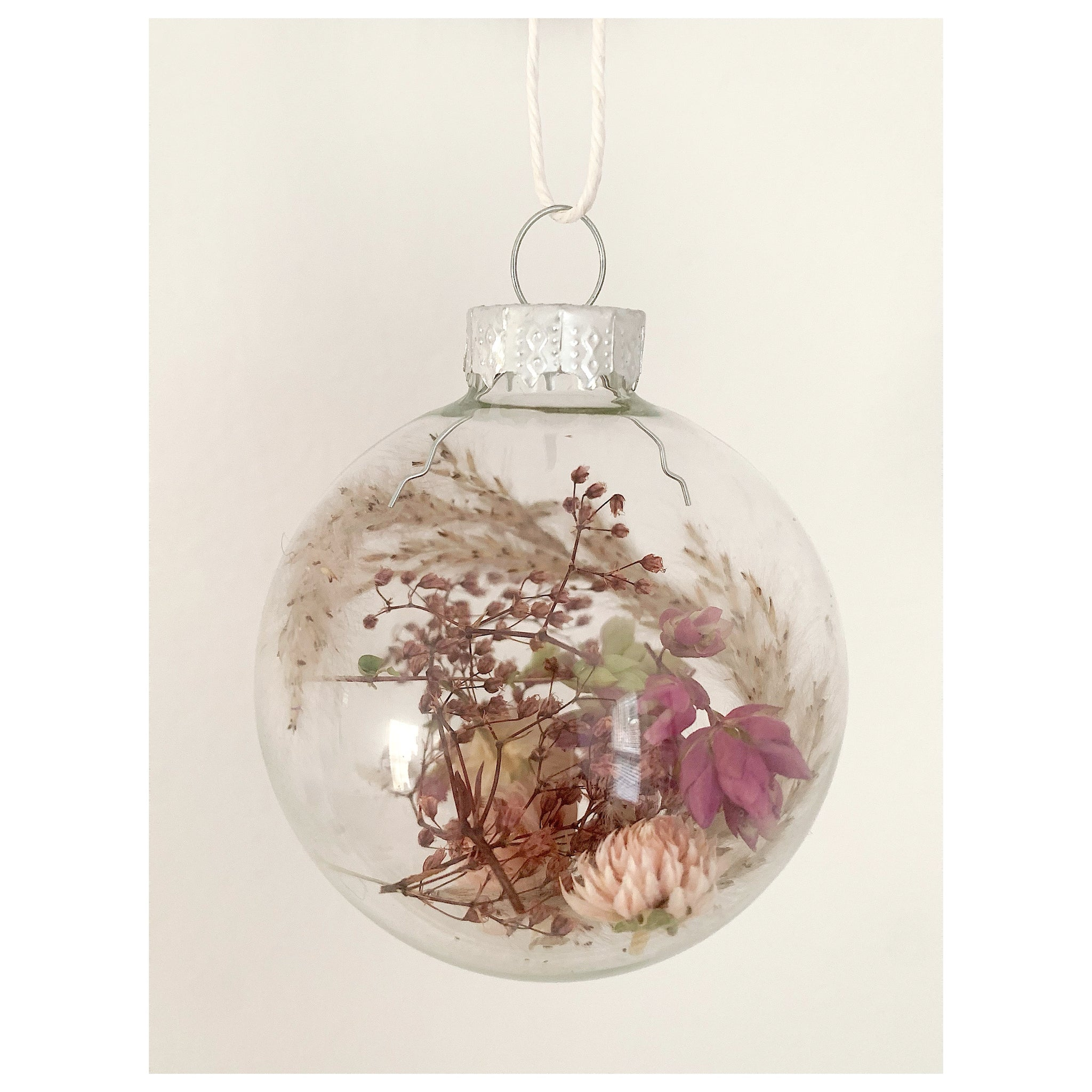 Oregano, Baby's Breath, and Globe Amaranth Glass Ornament