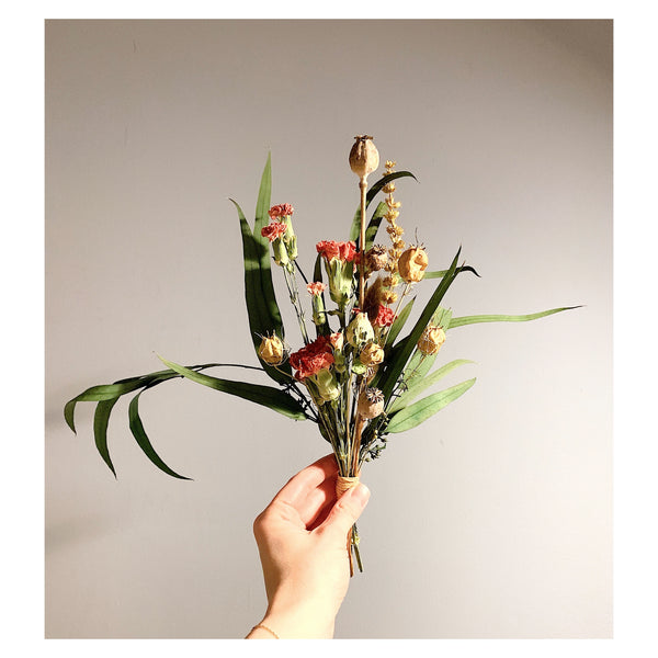 Small poppy Pod, Safflower, and Carnation Forever Bouquet