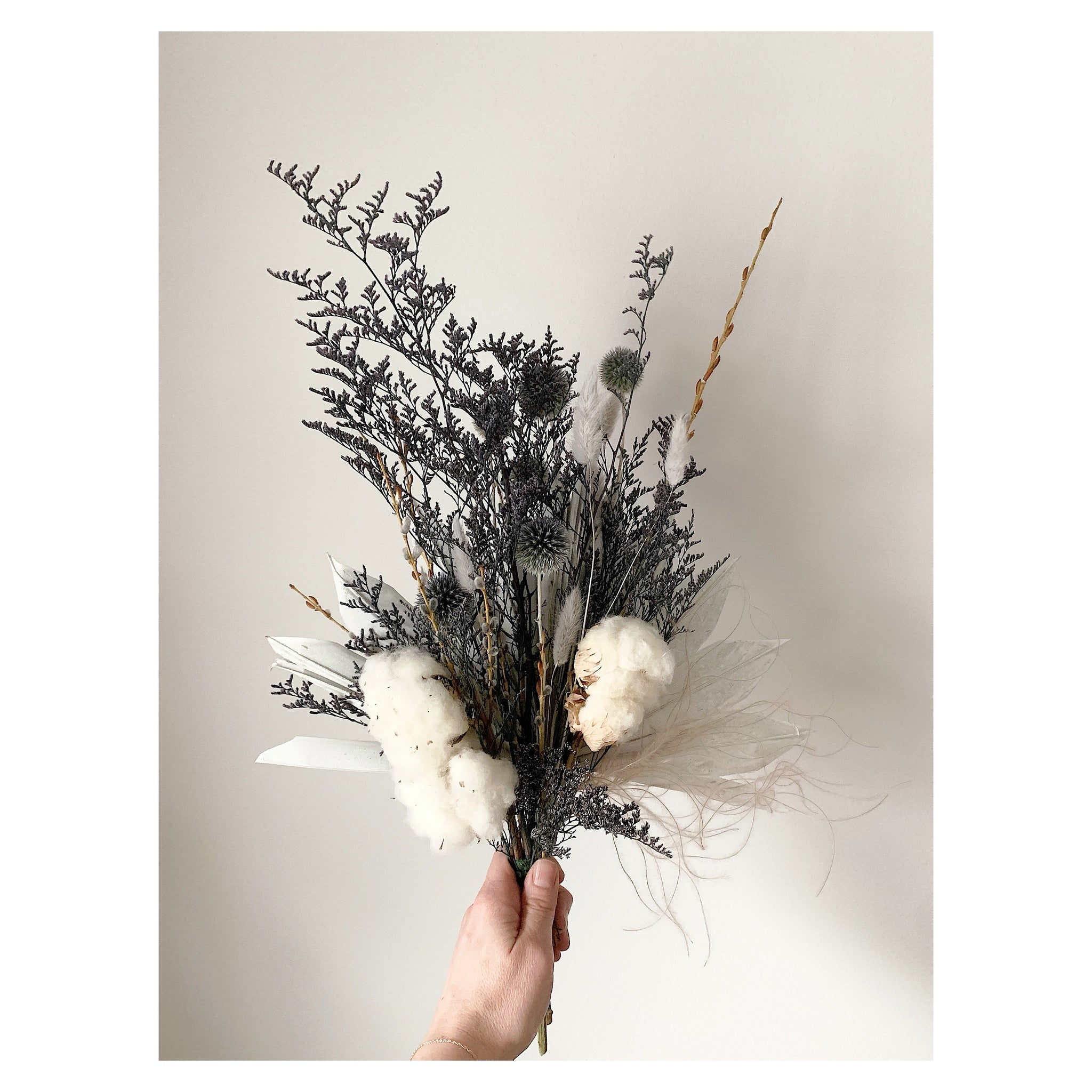 Globe Thistle, Sun Palm, and Cotton Forever Bouquet