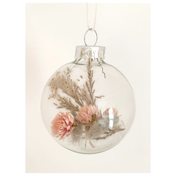 Globe Amaranth and Pampas Grass Glass Ornament