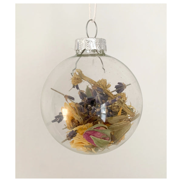 Nigella, Calendula, Lavender, and Rose Glass Ornament