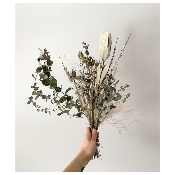 Eucalyptus, Willow Branch, and Grass Forever Bouquet