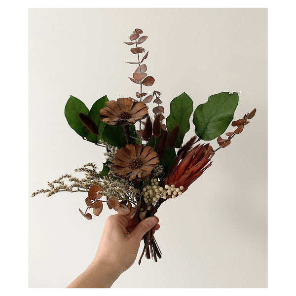 Protea, Eucalyptus, and Bunny Tail Small Forever Bouquet
